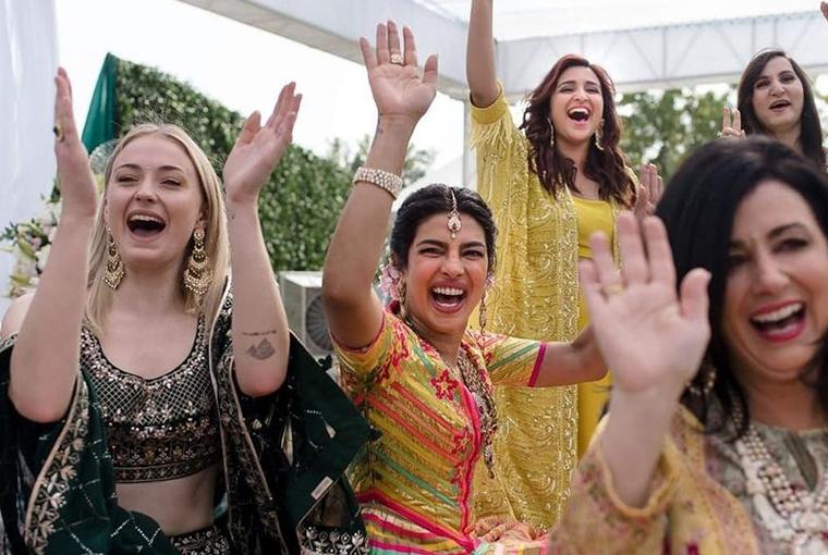 Priyanka with Sophie Turner and Parineeti
