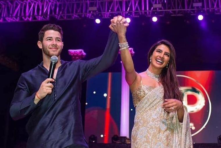 Nick and Priyanka on their Sangeet