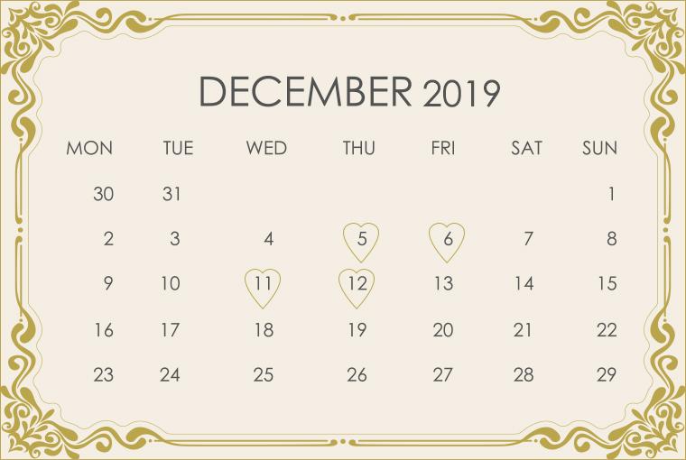 December 2019 Wedding Calendar