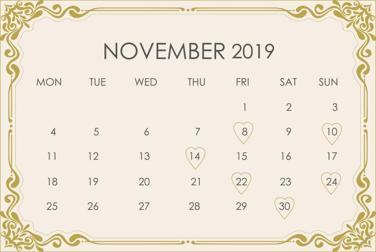 November 2019 Wedding Calendar