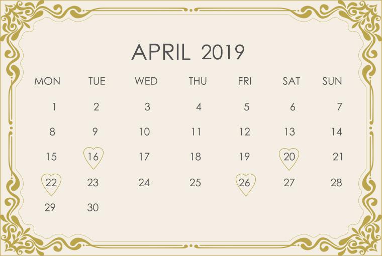 April 2019 Wedding Calendar