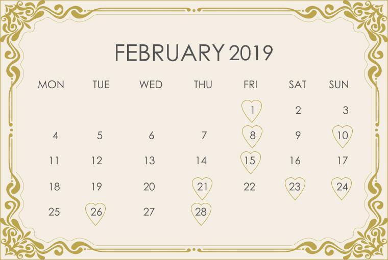February 2019 Wedding Calendar