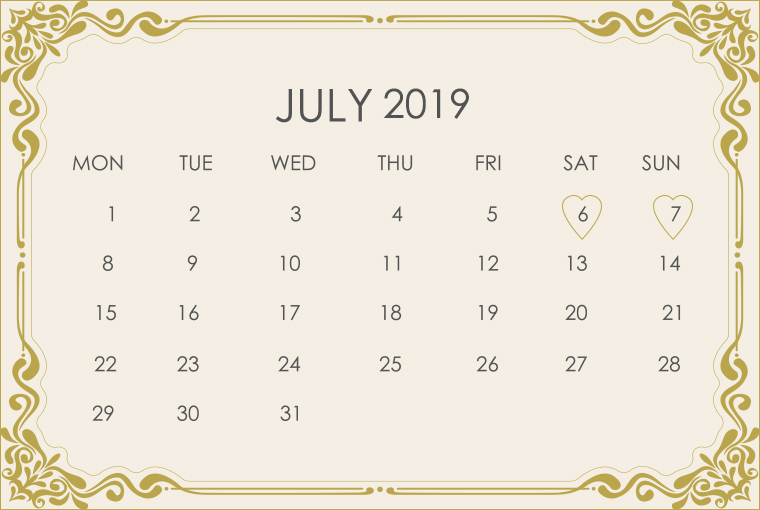 July 2019 Wedding Calendar