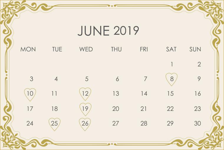 June 2019 Wedding Calendar