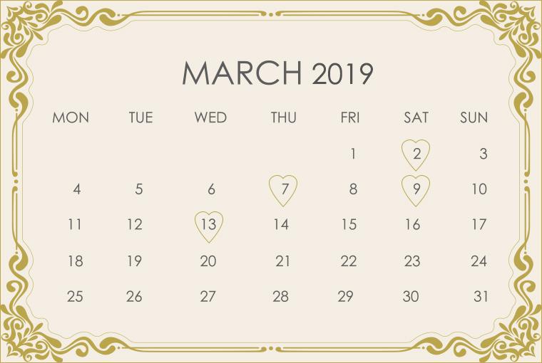 March 2019 Wedding Calendar