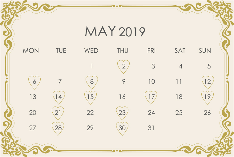 May 2019 Wedding Calendar