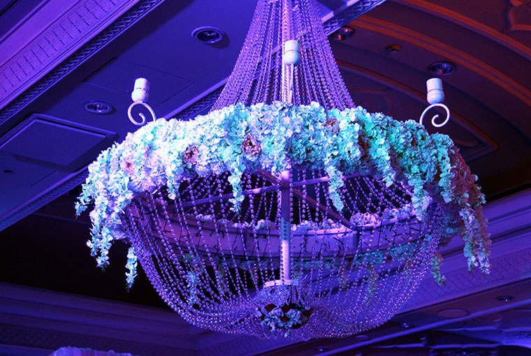 Chandelier adorned with flowers