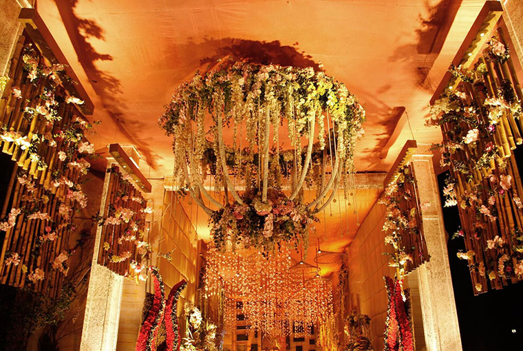 Floral chandelier at the entrance