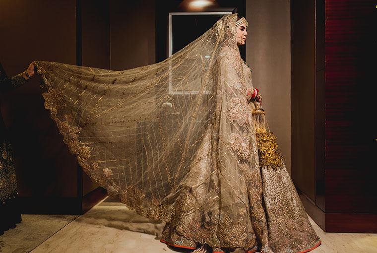 Golden Bridal lehengas