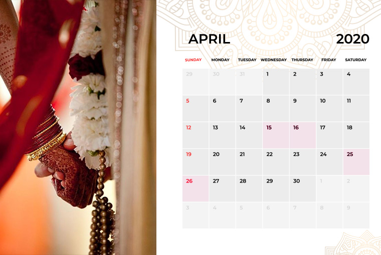 Wedding dates in April 2020