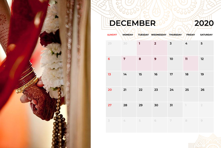 Wedding Dates in December 2020