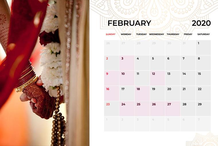 Wedding Dates in February 2020