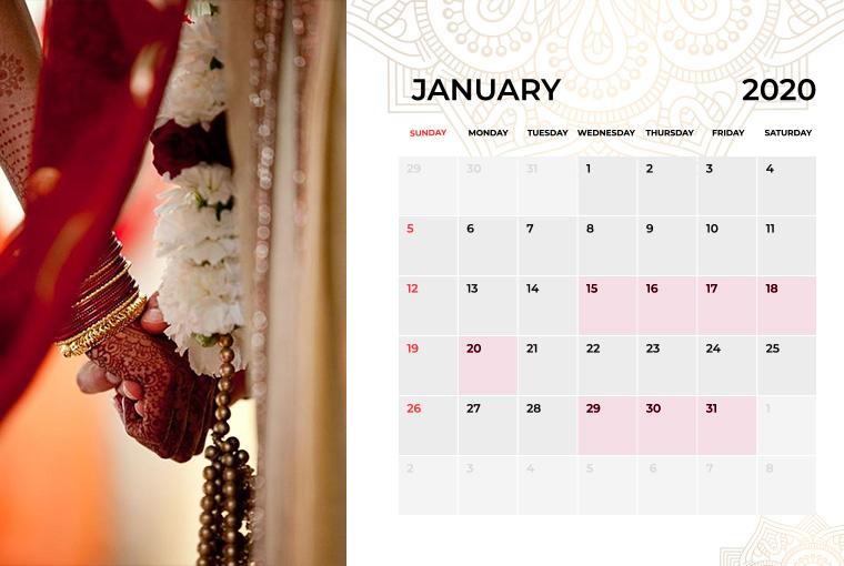 Wedding Dates in January 2020