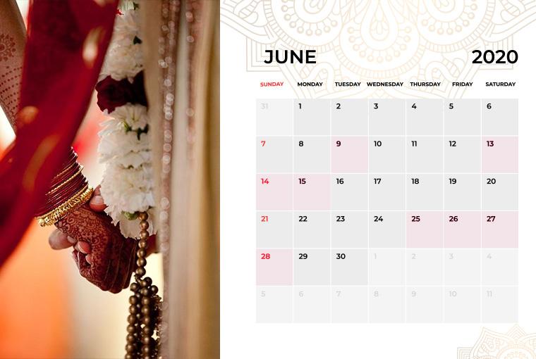 Wedding dates June in 2020