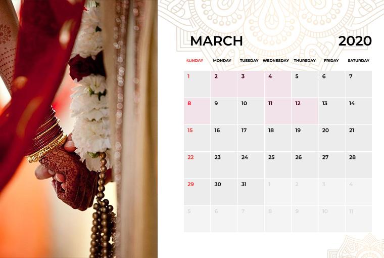 Wedding Dates March in 2020