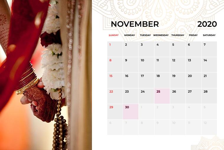 Wedding Dates in November 2020