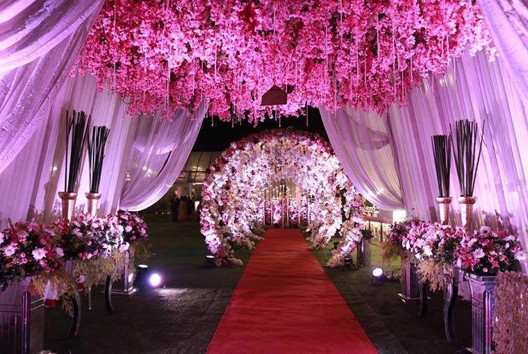 whimsical setting with floral and lights