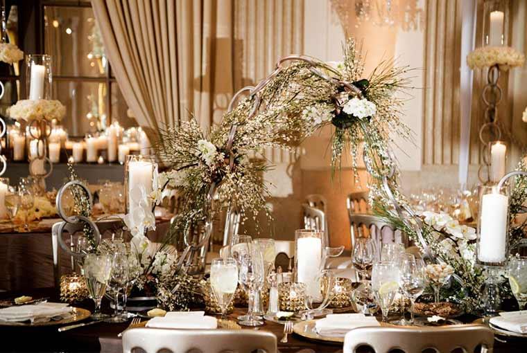 metallic details in wedding decor