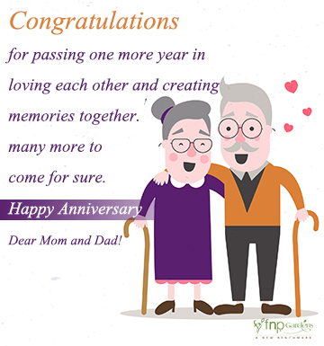 Romantic wedding anniversary wishes for parents