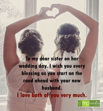 Wedding wishes for a sister on her big day