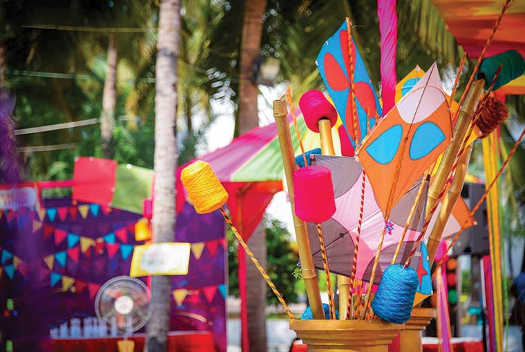 Kite flying competition at indian weddings