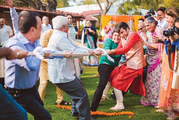 Tug of war at indian weddings