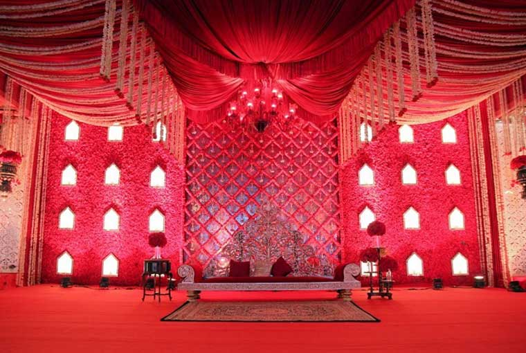 Red themed décor